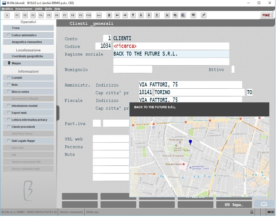 Mappa cliente o fornitore su cruscotto