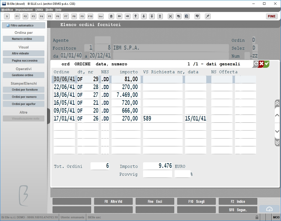 Visualizza ordini fornitore