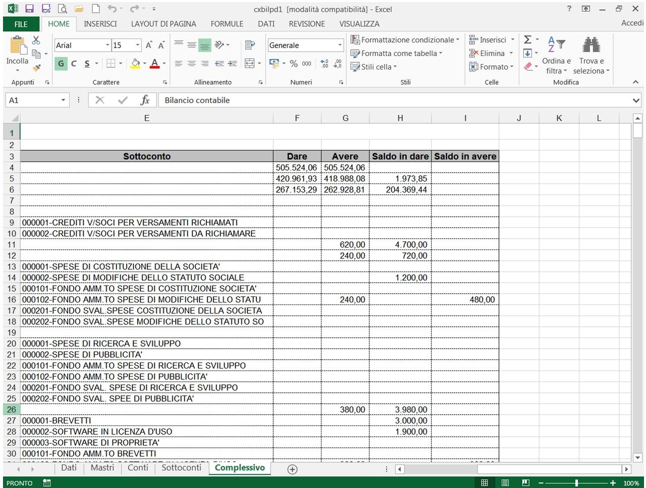 Export bilancio<br />