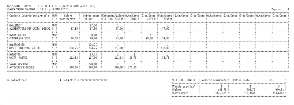 Stampa valorizzazione LIFO/ultimo costo<br />